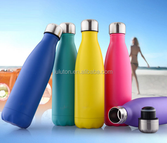 Sport Cola Bottle 17oz double wall vacuum insulated stainless steel water bottle
