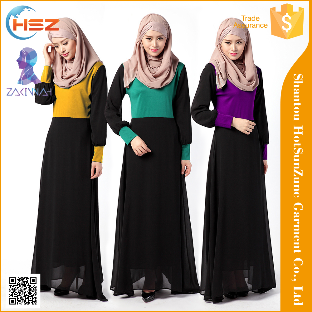 Zakiyyah040 2016 Latest Fashion Design Baju Kurung With Chiffon And Print Dubai Burka Fashion Islamic Abaya And Hijab
