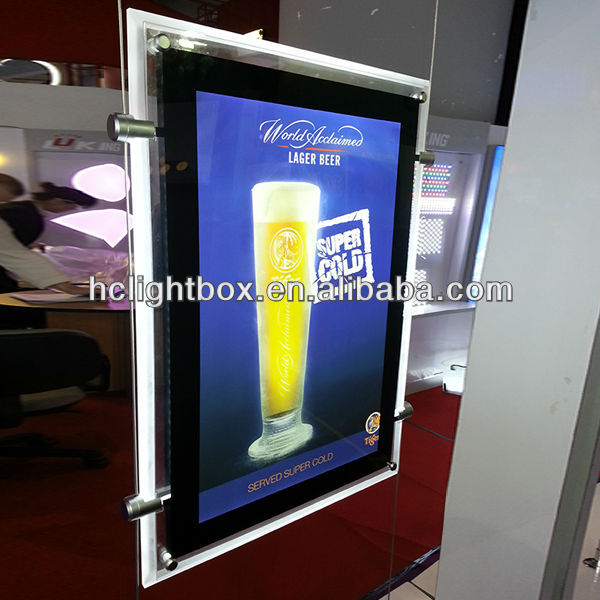 led crystal hanging display led acrylic panel and double sided hanging crystal light box
