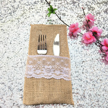 "4"" x 8"" Rustic Hessian Burlap Lace Cutlery Bag Wedding Knives Forks Holder Pouch"