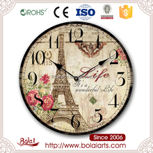 Country style mdf material standard round numbers decorative wall clock for restaurant