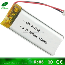 511740 li-ion 3.7v 350mah lithium polymer rechargeable battery for shaver