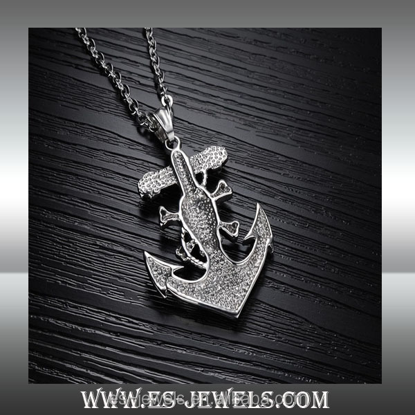 Men's Stainless Steel anchor Skull Pirate Pendant Necklace