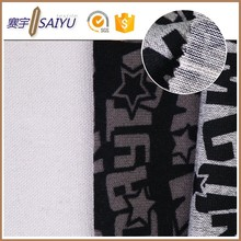 Factory wholesale 100%polyester ash black words print fabric for garment