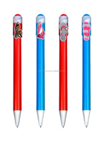 2015 Cheap personalised cartoon clip ballpen, name printed cartoon clip pen
