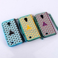 Grid Pattern Wallet Style Magnetic Flip Stand PC+ PU Leather Case for Samsung Galaxy S4 I9500