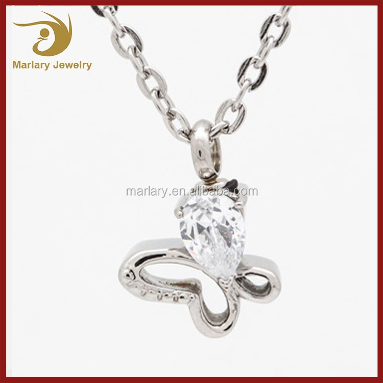 Custom CZ Stone Butterfly Ash Necklace Stainless Steel Cremation Pendant Pet Pemorial Jewelry
