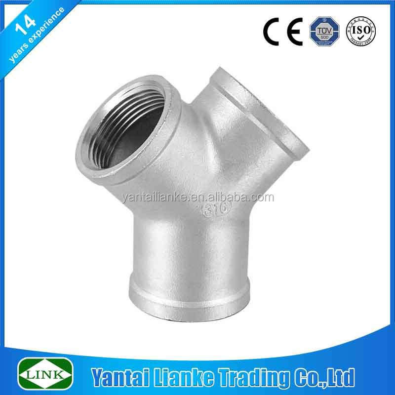 SS316 BSP thread wye tee fittings for water