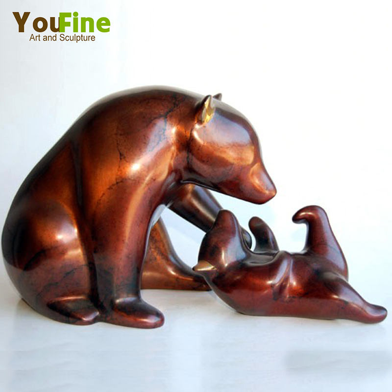 Lovely metal wild animal bronze bear statues for sale