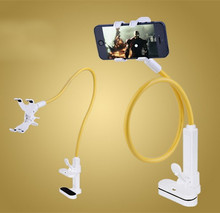 Folding gooseneck cell phone long arm holder with 360-degree rotation clip