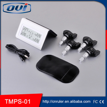 High senstive TPMS tire pressure monitoring system with 4 sensor dispalyed, internal sensor tire pressure gausge