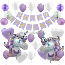 UMISS Paper Huge Unicorn balloons Tissue Pom Poms Lanterns For Baby Shower decorations Happy Birthday banner party supplies