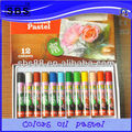 12 color round oil pastel in paper box for kids