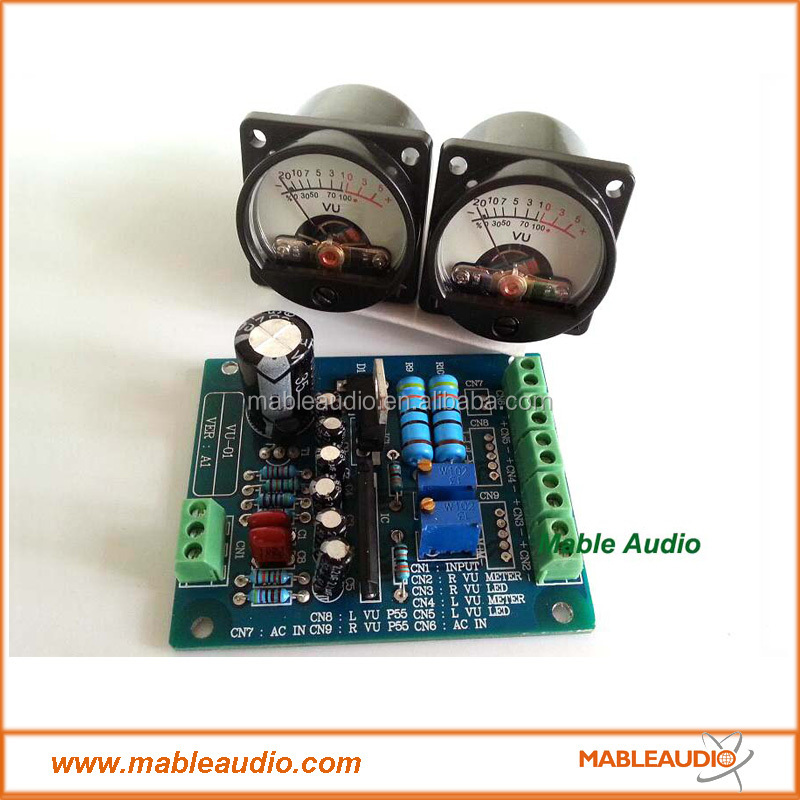 2pcs Panel VU Meter Audio Level Amp and One driver board