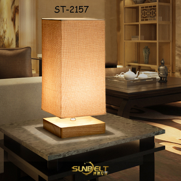 ST-2157 sunbelt wood Square table lamp led light bedroom decor lamps for home