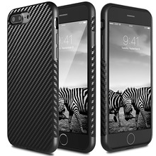 Carbon fiber hybrid rubberized bling bling case for iphone 7 plus