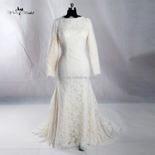 J--0014 long sleeve France lace elegant long train champagne wedding dress