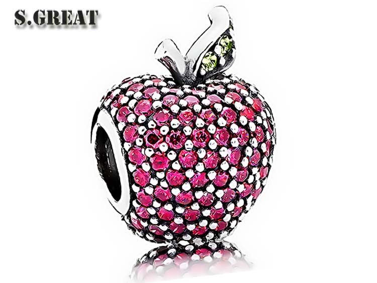 red pave apple fit pandora charms wholesale 925 sterling silver charms