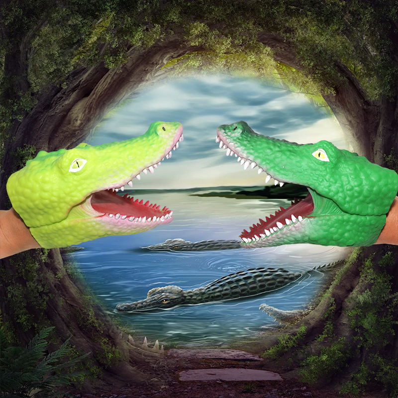 Shenzhen wholesale children plastic custome Alive crocodile hand puppets