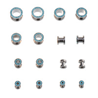Ipink 8 Pairs Aqua Rhinestone Lined Screw On Double Flare Hollow Flesh Tunnel Ear Plug Earlet - Available in Low & Giant Gauges