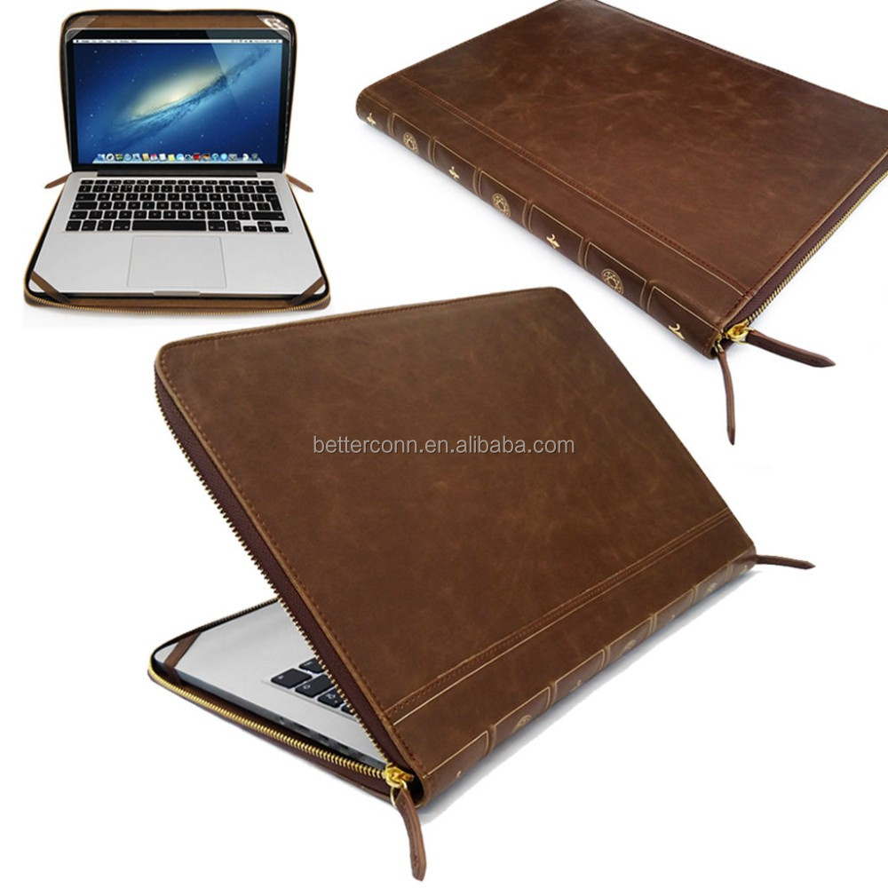 Brown Smart Leather VINTAGE BOOK Laptop Folio Case, Cover Sleeve For Apple Macbook Air