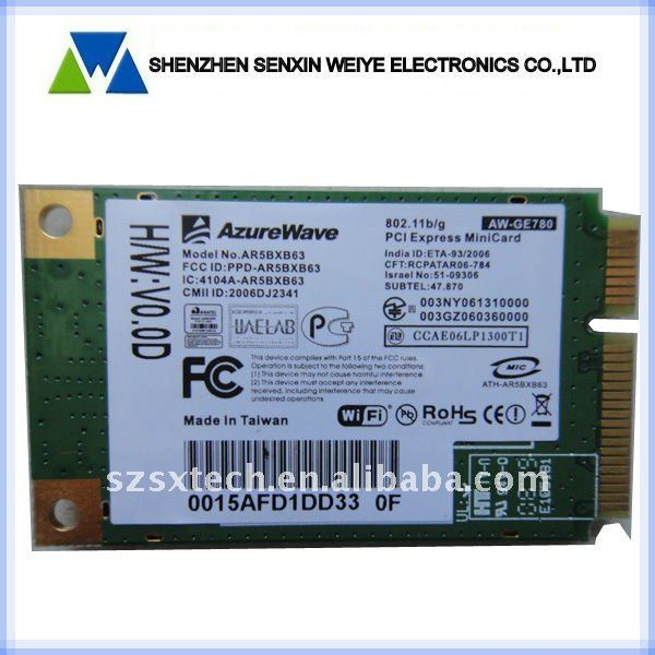 AzureWave AW-GE780 AR5BXB63 Wireless Lan Wlan Wifi Wi-Fi Card Mini PCI-E PCI-Express 802.11B/G network card