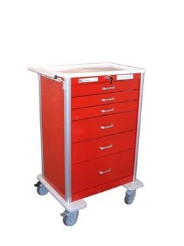 medical cart -BEST - Deluxe 6 drawer electronic locking lightweight Crash Cart (Sample colors shown)