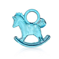 Acrylic Charm Pendants Rocking Horse Peacock blue 29.0mm x 27.0mm