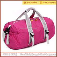 210D waterproof nylon material shoulder tote cylinder shape sports duffel bag wholesale