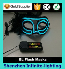 Top quality flashing el wire lace mask,fashional feather mask for party decoration