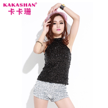 Show Dance Wear Sexy Ladies Tank Tops Women Black Sequin Crop Top