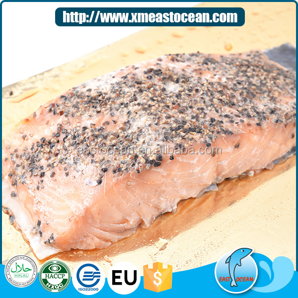 2016 Newest salted fillet seafood snack smoked fish cut salmon fish frozen