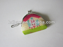 Fashion cartoon printed pvc christmas coin holder with keyring