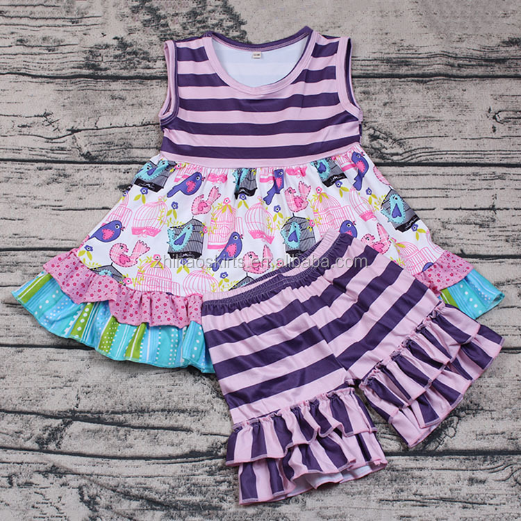 Wholesale Soft Cotton Birdcage Print Summer Boutique Outfits for Baby Girls 2pcs Icing Shorts Set Smocked Design Kids Discount