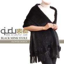 QD-LT8025 Fur Wrap Wholesale/Retail Poncho Real Knitted Mink Fur Shawl with Tassels