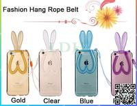 Newest Rabbit Ears Silicon TPU Protective Case For iphone 4 4S 5 5S 6 6S 6Plus 6S Plus Hang Rope Belt Back Cover Shell For Apple