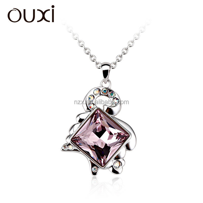 OUXI jewelry Chinese zodiac series crystal goat pendant with gold & rhodium plated alloy necklace 10946