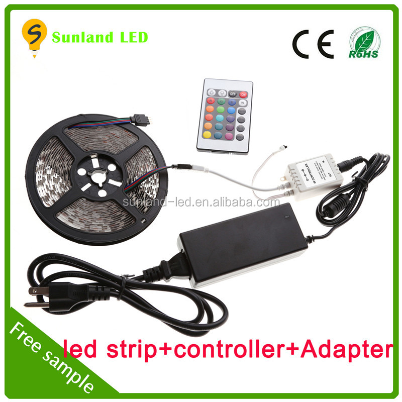 High quality rgb led strip light,5m smd 5050 300pcs addressable rgb led strip kit with power adapter and 24key remote controller