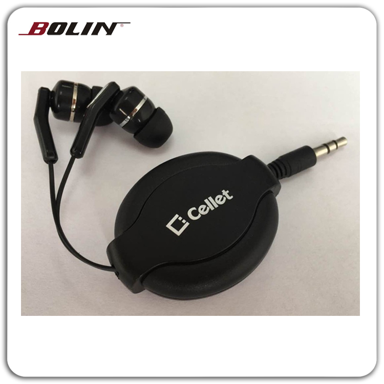 Retractable Black Headphones In Ear Design With Holder