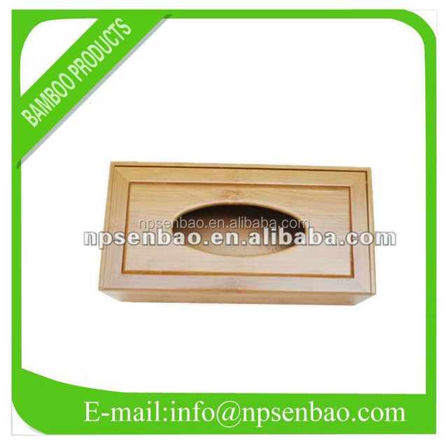 Cheap Rectangle Bamboo Tissue Paper Box with Cover