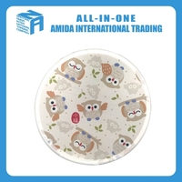 2015 top quality Japanese style lovely owl pattern multicolor round nylon folding fan