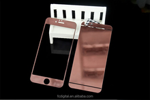 QWD hot cheap 9H 2.5D front and back electroplating mirror screen protector rose gold tempered glass sreen protector for iphone6