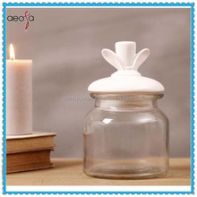 antique clear glass storage jar with lid