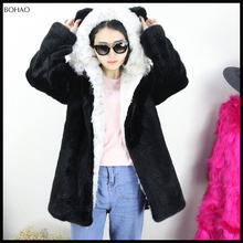 Winter Warm Style Lovely Girls' Long Sleeve Faux Fur Overcoat