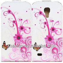300 PCS Flower Butterfly Flip Leather Cover Case for Samsung Galaxy S4 Mini i9190