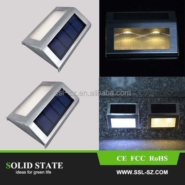 Waterproof outdoor solar sensor light 2 LED Solar Powered led step light stainless steel
