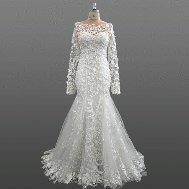 Luxury Long Sleeve Bridal Dresses Floral Fabric Mermaid Patterns Ivory Wedding Dress