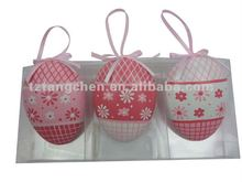 Plastic egg hanging in pink color for Easter gifts S/6