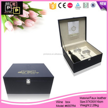 China Supplier Black Leather Covered Cardboard Wine And Glass Box