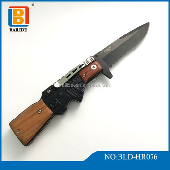 Ak47 Type Folding Knife Tactical Knives Stainless Steel Blade Wooden Handle Hunting Knife